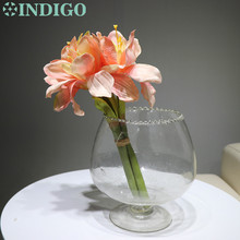 3pcs/Lot - Short Pink Amaryllis Orchids Bride Banquet Flower Silk  Artificial Wedding Party Fake Free Shipping