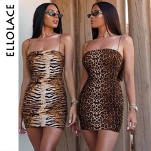 Ellolace Animal Bodycon Mini Dress Leopard Strap Sleeveless Sexy Slim Female Summer New Midi Dresses Slach Neck