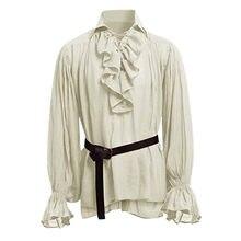 Feitong camisa masculina moderna com babados, blusa com faixa para homens, de manga longa, camisa gótica