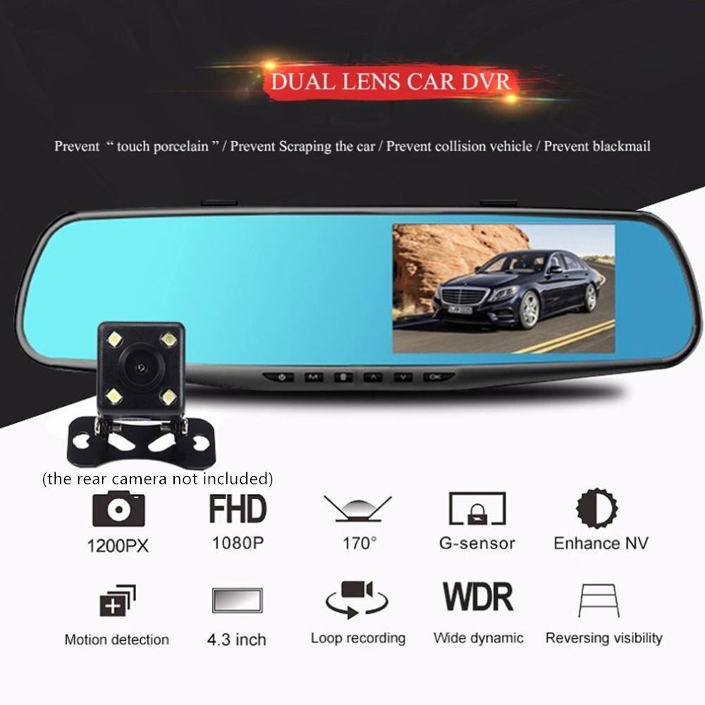 3.5 polegada carro dvr espelho do carro dvr câmera hd 1080 p espelho retrovisor digital gravador de vídeo de lente dupla carro traço cam