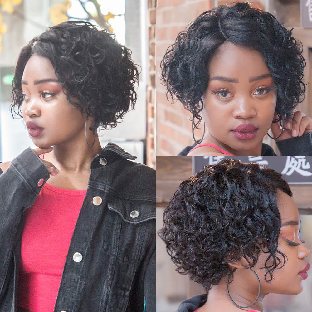 Pixie Cut Wig Short Curly Bob Lace Front Wigs Water Wave Human Hair Wigs For Black Women Cheap Human Hair Wig With Free Shipping