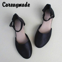 Careaymade-New Summer cowhide literary and artistic sandals,first layer retro casual comfortable flat womens shoes