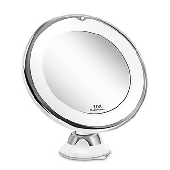 10X powiększające lustro do makijażu ze światłem 360 stopni obrót wytrzymała przyssawka przenośne LED kosmetyczne blat łazienka tanie i dobre opinie QIAOYAN Wyposażone CN (pochodzenie) NONE 20x19x9cm 10X Magnifying Makeup Mirror