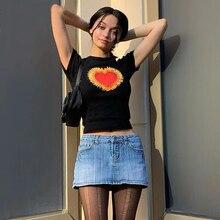 Женские футболки tee streetwear y2k coração gráfico recortada top roupas de manga curta moda preto camisetas vintage bonito magro