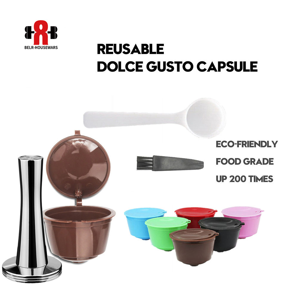 Reusable Coffee Capsule Nescafe Dolce Gusto Filters with Stainless Steel Mesh Dolci Gusto Pod Cup for Coffee machine Tool Tamper(China)
