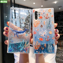 For Samsung Galaxy Note 10 Plus Protective Case Liquid Quicksand Sea Coral Blue Dolphin Pro Shell Cover
