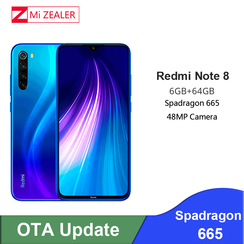 New Xiaomi Redmi Original Note 8  6GB RAM 64GB ROM Smartphone Snapdragon 665 Octa Core  48MP Camera Cellphone