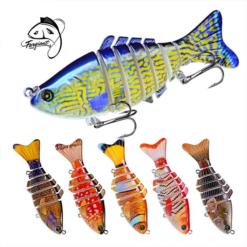 Fargiant 10cm Color Painted Bait Plastic Hard Bait 7 Multi Section Fish Bionic Bait ABS Artificial Bait VIB Whopper Plopper