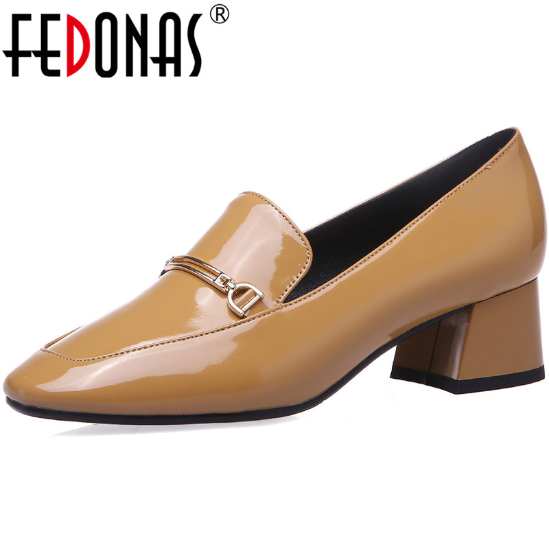 FEDONAS Patent Leather Women Shoes Quality Metal Decoration Thick Heels Pumps Concise Working Shoes New Spring 2020 Shoes Woman