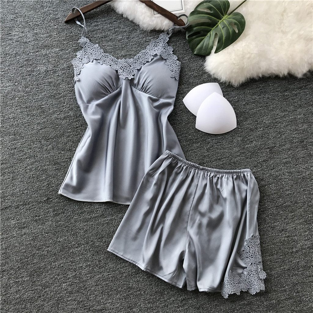 Top + Shorts Pajamas With Pad Sexy Sleepwear Set Satin Pyjamas Set For Women Lace V-Neck Pyjama Winter Warm Robe Female Cami LW