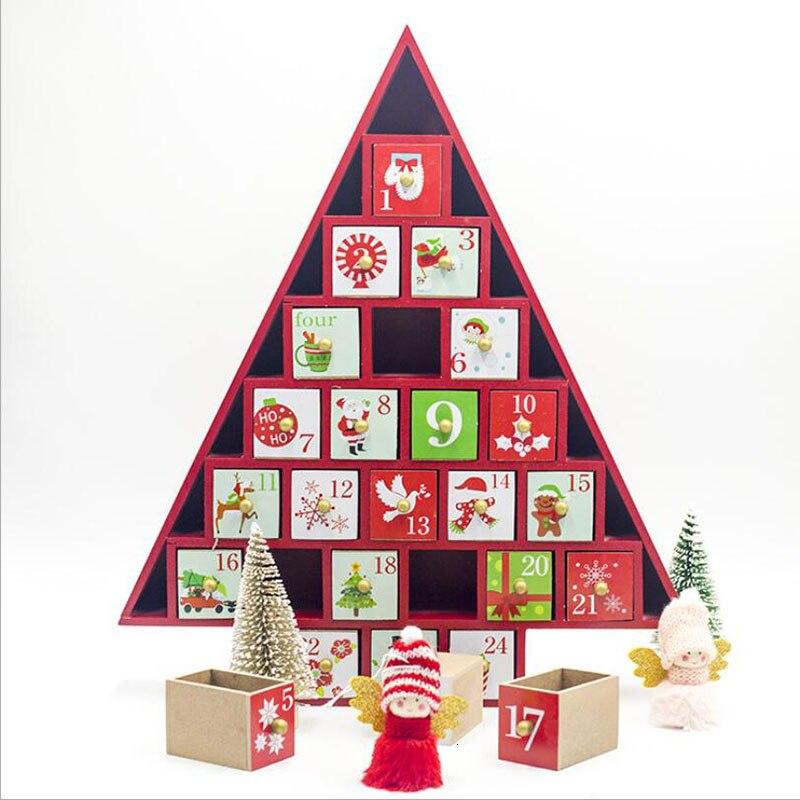 Новые рождественские украшения 2019 деревянный Рождественский обратный отсчет Календарь украшения для рождественской ёлки подарочные коробки украшения для дома