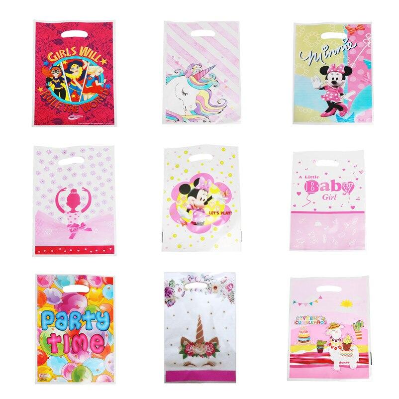 10pc Cartoon Gift Sack Happy Birthday Party Supply Engineering Car Bee Flamingo Girl Gift Bag Baby Shower Decor Plastic Loot Bag