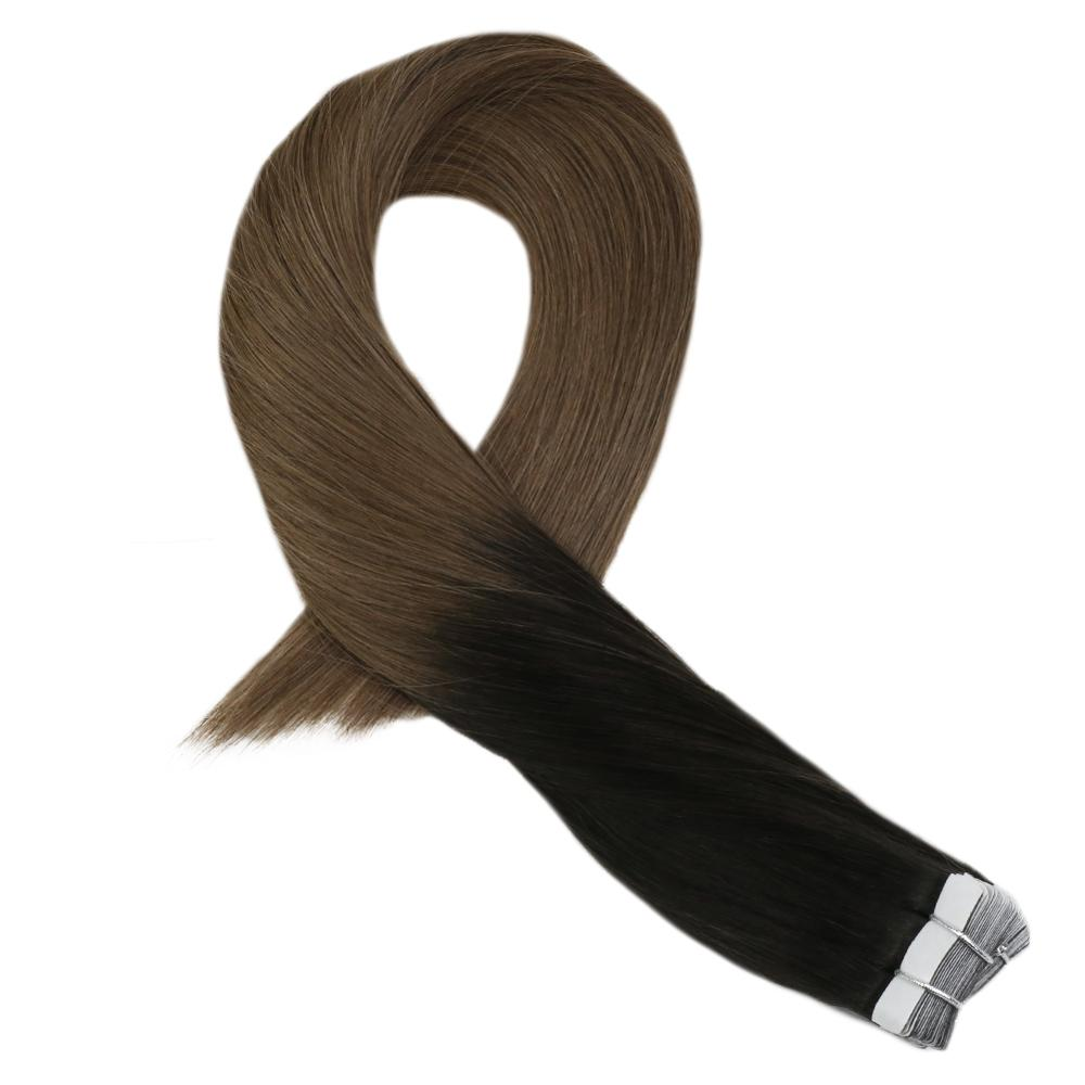 Moresoo 14-16 Inch Tape In Human Hair Extensions Machine Remy Brazilian Hair Ombre Color #1B/10 Skin Weft 2.5G/Pcs