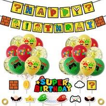 Super mario balões super herói fabricante ballons festa de aniversário banner do chuveiro do bebê decorações de festa super luigi bros crianças brinquedos