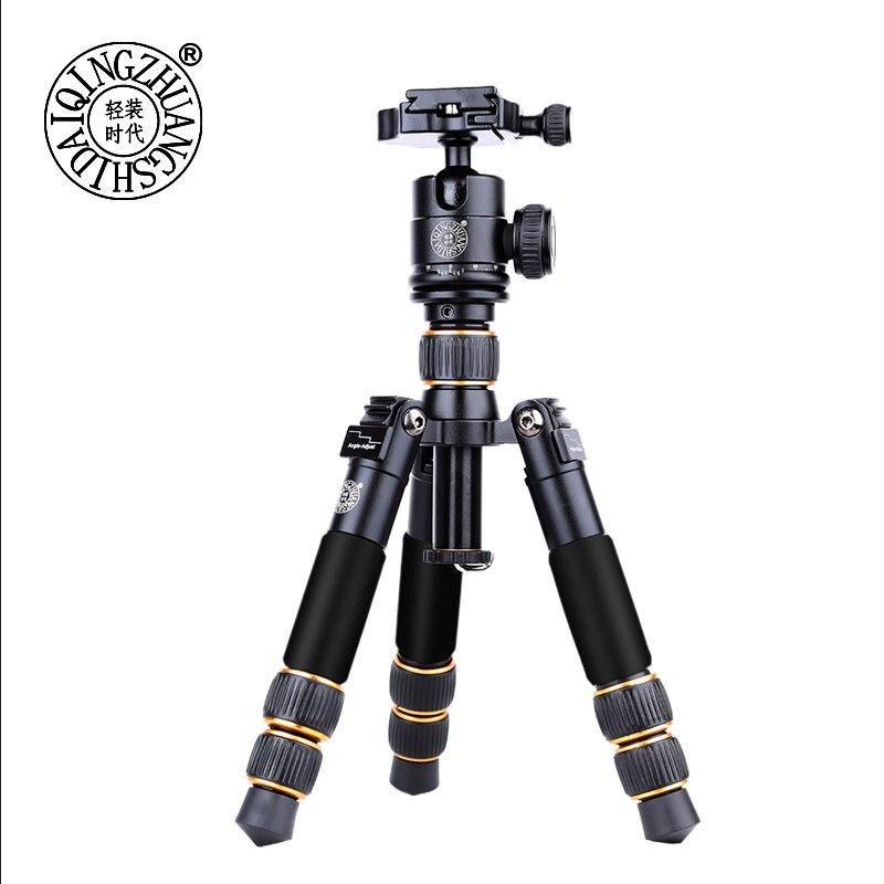 QZSD Q166A мини настольный штатив для камеры переносной туристический стенд держатель для фотографии с зажимом для сотового телефона Ipad и сумка