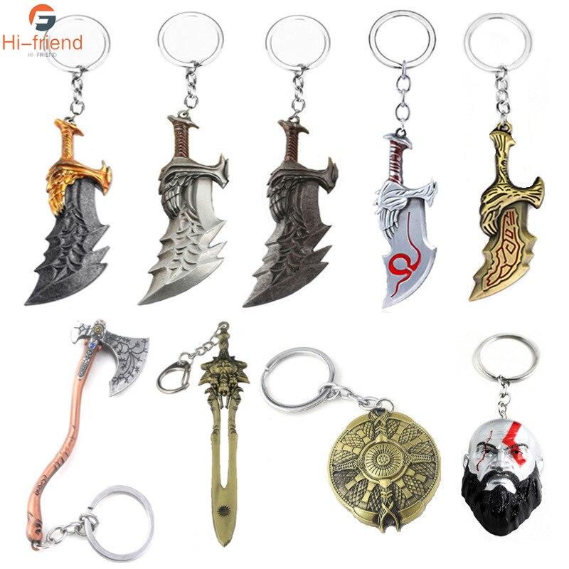 Deus Da Guerra Kratos Kratos máscara Pingentes jóias chaveiro de Cristal Chaveiro Machado Homens Mulheres Saco Do Presente Da Lembrança Chaveiros