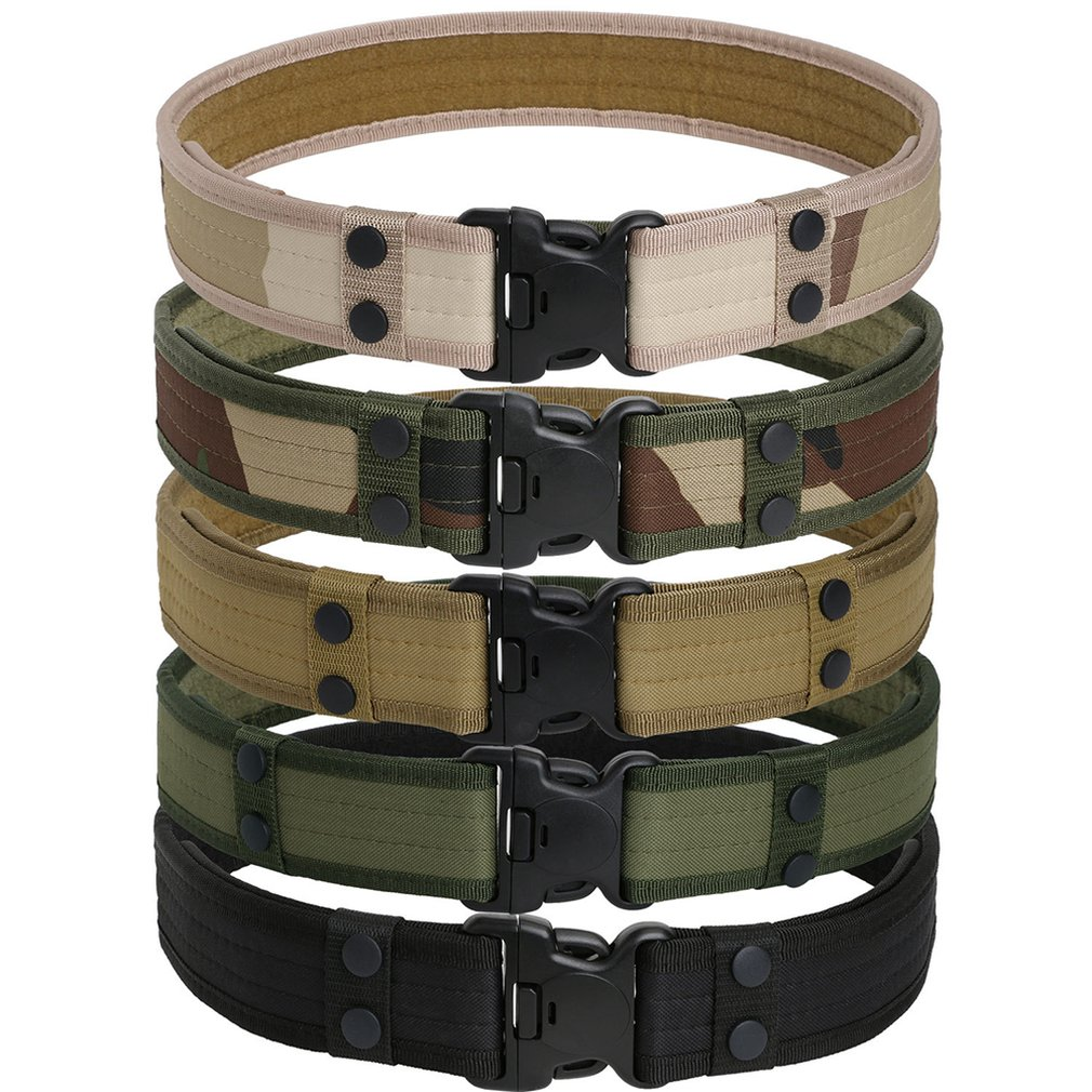 New Combat Canvas Duty Tactical Sport Belt With Plastic Buckle Army Military Adjustable Outdoor Fan Hook Loop Waistband