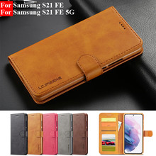 For Samsung S21 FE 5G Case Leather Vintage Phone Case On Samsung Galaxy S21 Ultra S21FE S 21 Plus Case Flip Magnetic Cover Coque