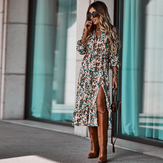 Autumn V Neck Long Floral Print Dress For Women 2021 Casual Long Sleeve Split Dress Female Boho Elegant Maxi Party Vestidos 4