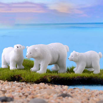 1pc Animal Miniatures Polar Bear White Lovely Mother Bear Figurines Keychain Terrarium Material DIY Fairy Garden Decor image
