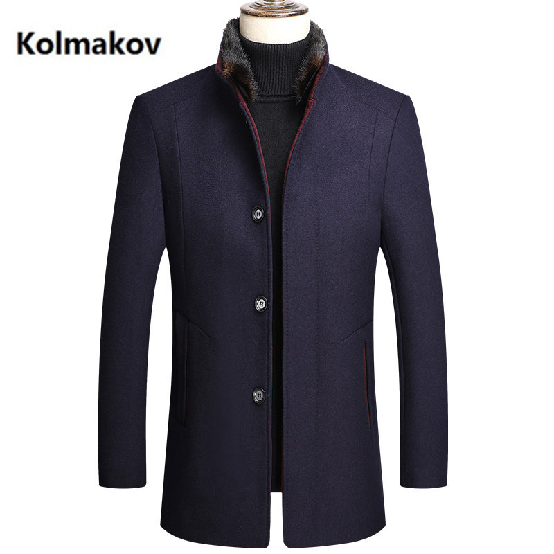 2020 winter new arrival thicked coat men, high quality fur collar wool trench coat men,men's wool jackets size M-4XL