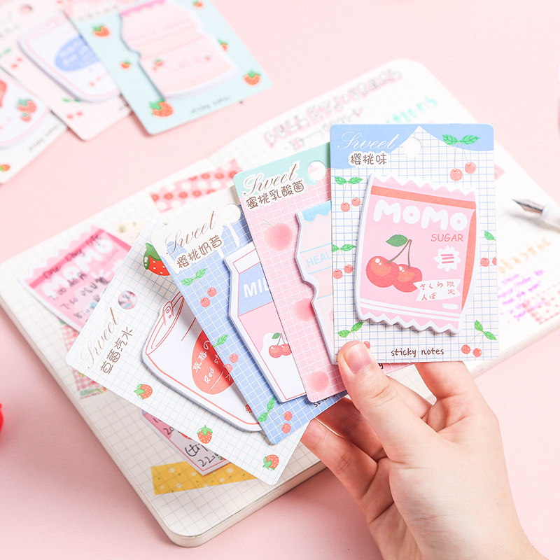 1 Set/lot Memo Pads Sticky Notes Fruit Shake Series Paper Diary Scrapbooking Stickers Office School Stationery Notepad