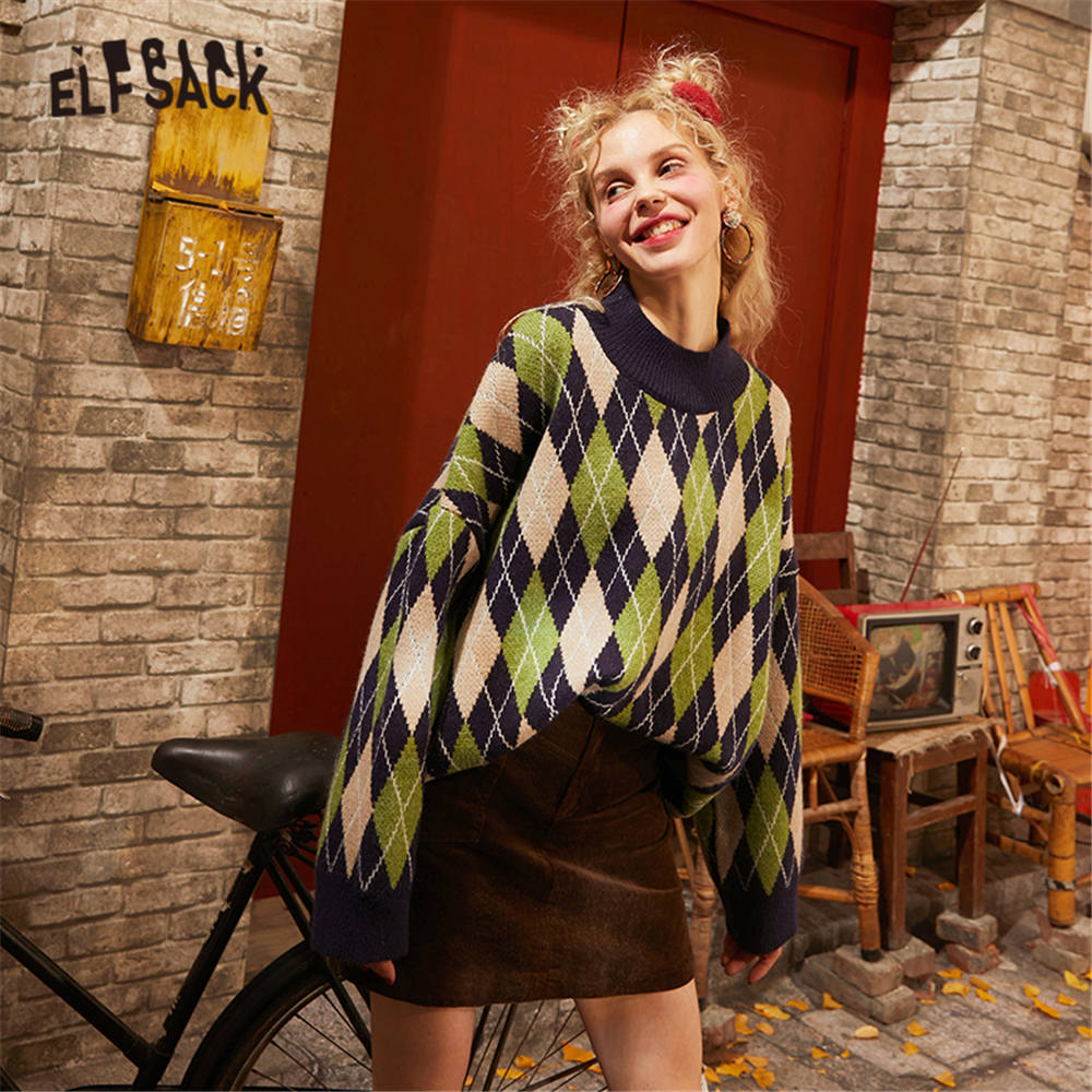 ELFSACK Green Argyle Print New Year Preppy Knit Pullover Women Sweaters 2020 Spring Long Sleeve Korean Casual Ladies Daily Top