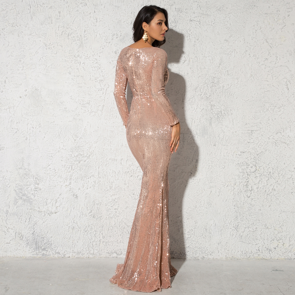 Elegant O Neck Long Sleeve Sparkle Sequin Maxi Dress