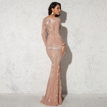 Elegant O Neck Long Sleeve Sparkle Sequin Maxi Dress