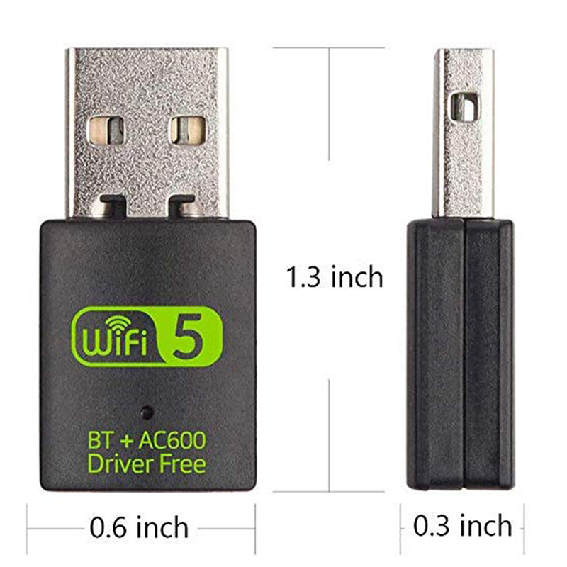 USB WiFi Bluetooth Adapter 600Mbps Dual Band 2.4/5Ghz Wireless External Receiver Mini WiFi Dongle for PC/Laptop/Desktop 4