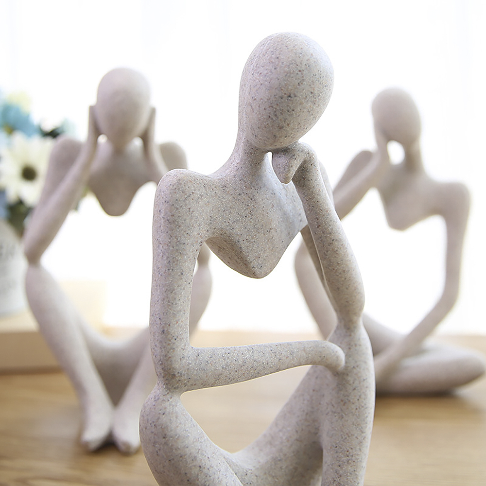 Creative Forgetive Resin Statues Abstract Thinker People Sculptures Miniature Figurines Craft Office Home Decoration Ornaments