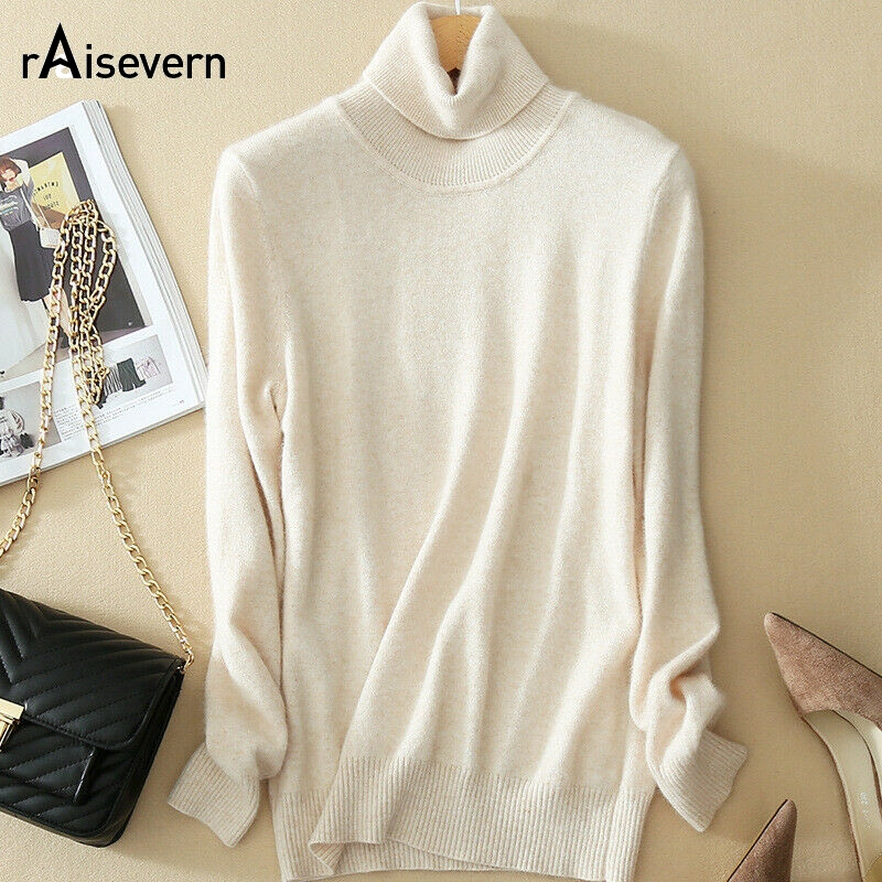 Raisevern High Collar Sweater Women's Pullover Sweater Solid Color Slim Classic Knit Bottoming Shirt Large Size S-3XL