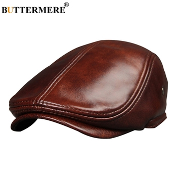 BUTTERMERE British Beret Men Genuine Leather Flat Cap Brown Male Earflaps Vintage Ivy Hats Autumn Luxury Directors Caps Gatsby svadilfari classic beret caps men warm genuine leather caps ivy windproof duckbill hat burgundy winter luxury brand flat hats