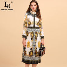 LD LINDA DELLA Fashion Runway Autumn Pleated Dress Womens Long Sleeve Printed High Waist Elegant Vintage Vacation Midi Dresses