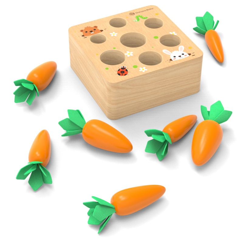 Montessori Toy Wooden Block Set Pulling Carrot Ability Alpinia Shape Matching Size Cognition Interactive Educational Toy For Kid