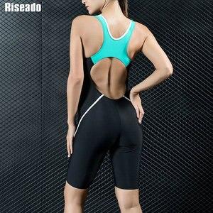 Image 2 - Riseado Sport Racing One Piece Swimsuit Women Competition Swimwear Boyleg Racerback Swimming Suits for Women Bathing Suits