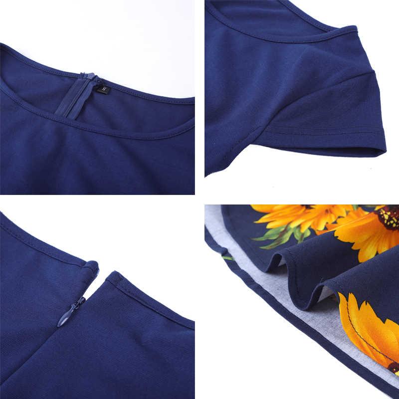 MISSJOY artı boyutu 4XL elbise kleding vrouwen Vintage zarif Cap Sleeve limon çiçek baskı pin up moda elbiseler kerst jurk