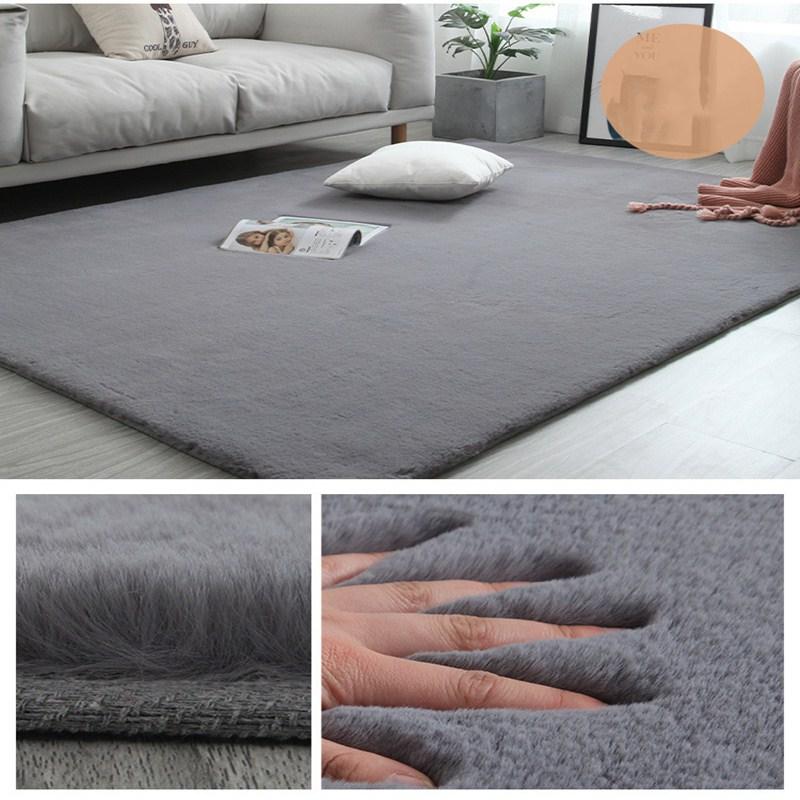 Imitation Rabbit Fur Solid Color Thick Carpet Bedroom Foyer Soft Fluff Floor Mat Bathroom Non-slip Absorbent Home Carpet