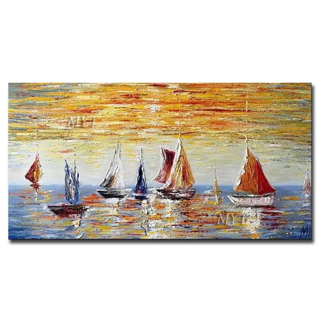 Seascape Sailing Boat Abstract Art Oil Painting Handmade Artwork Paintings Canvas Wall Pictures Art Unframed Craft For Bedroom Painting Calligraphy Aliexpress
