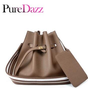 New Style Real Leather Bucket Bag Casual Women Hobo Luxury Designer Shoulder Bag Wide Strap Fashion Handbag For Ladies