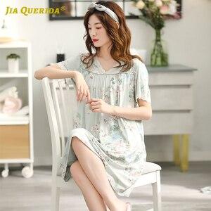 Image 3 - מזדמן חדש נשים גבירותיי ירוק נשים V צוואר שינה שמלת בית שמלת Nightwear לילה שמלת פרחוני שינה חולצה ארוך חולצה אלגנטי