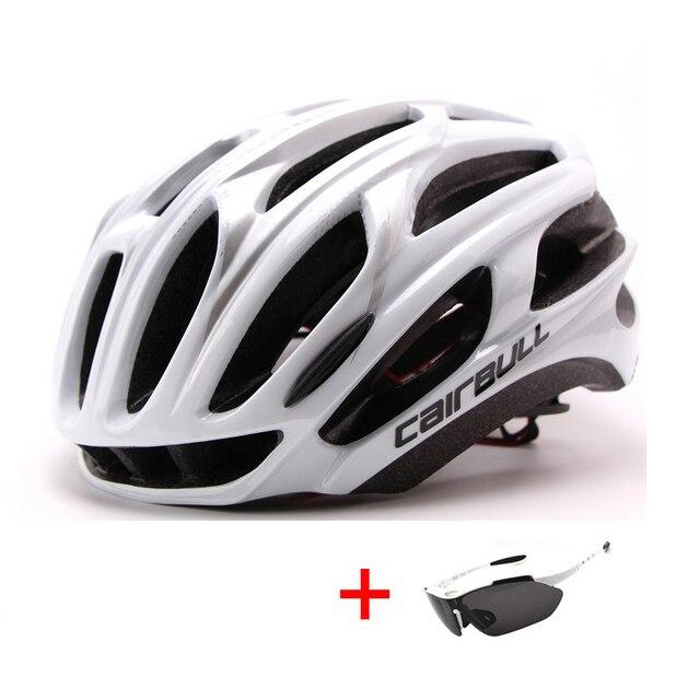 Ultralight racing ciclismo capacete com óculos de sol intergrally-moldado mtb capacete da bicicleta esportes ao ar livre montanha estrada capacete 4