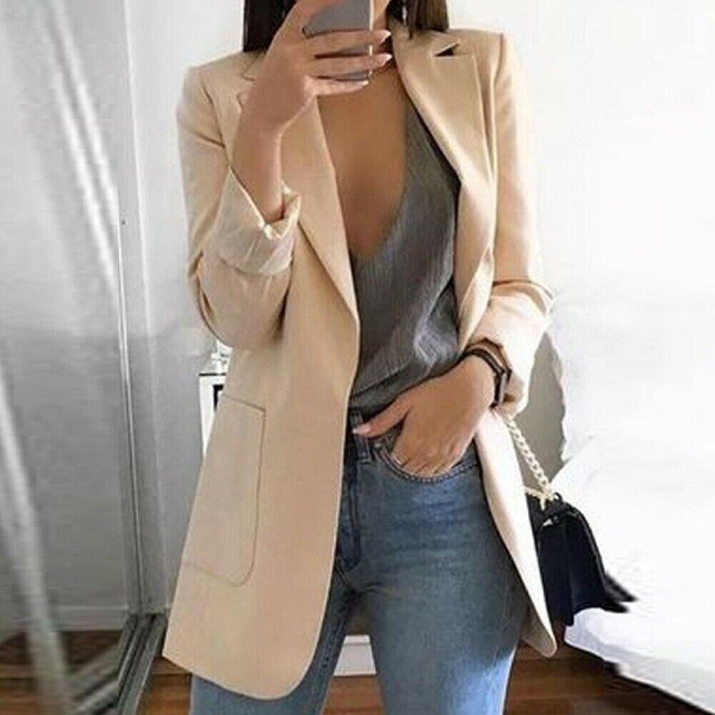 Women Winter Warm Slim Fit Formal Blazers Long Suit Coats Office Lady Work Outwear Jackets Fashion Streetwear