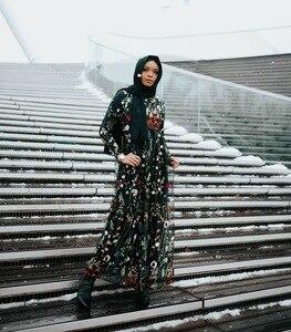 Image 4 - Dubai Sweet Floral Muslim Dress Women Embroidery Flower Big Swing A line Long Dress Lace up Islamic Clothing Maxi Hijab Dresses