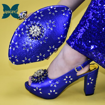 New royal blue Shoes with Matching Bags High Quality Ladies Shoe and Bag Set Decorated with Rhinestone Buckle Strap Elegant фото