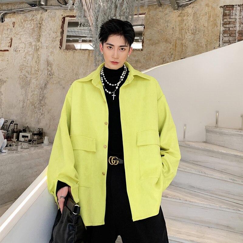 Homme Vintage Hip Hop cerf velours jaune veste hommes de rue décontracté mode ample grand col épais veste d'extérieur M-XL