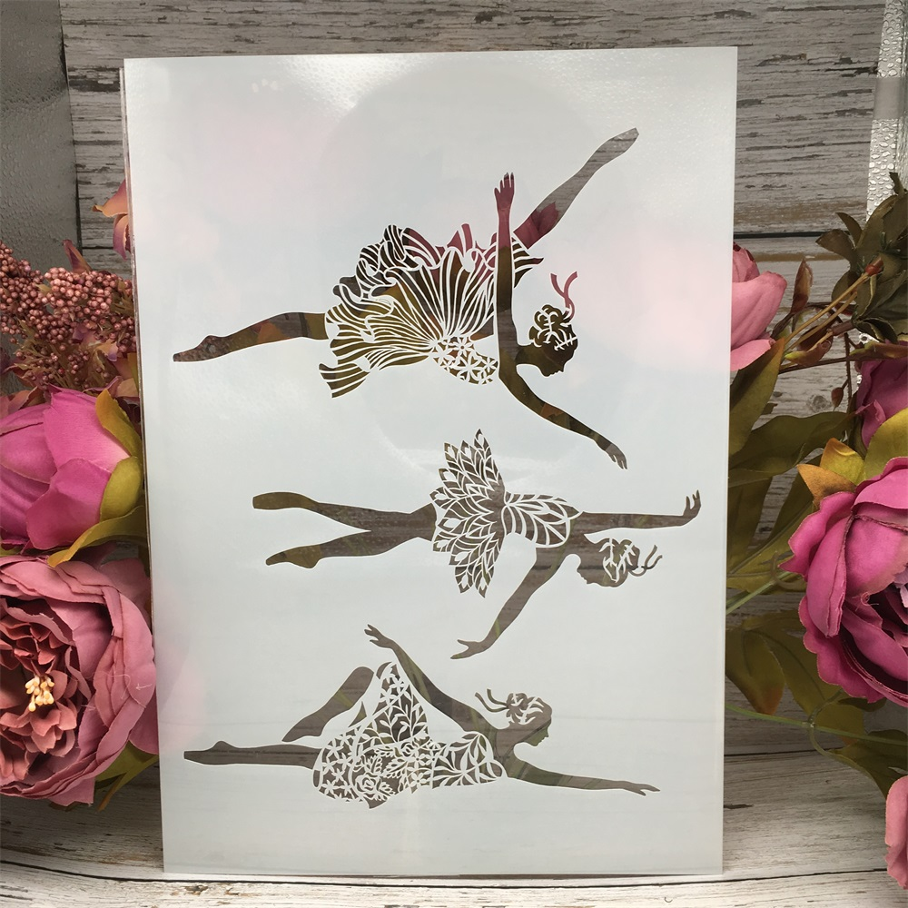 A4 29cm Dancing Ballet Girls DIY Layering Stencils Wall Painting Scrapbook Coloring Embossing Album Decorative Card Template