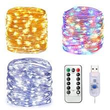 2/5/10m led luzes da corda de fadas natal controle remoto usb ano novo guirlanda lâmpada decoração do feriado para casa quarto janela