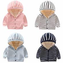 Jacket Toddler Girls Baby Baby-Boy-Girl Boys Winter Warm Cute And Striped Hooded Universal