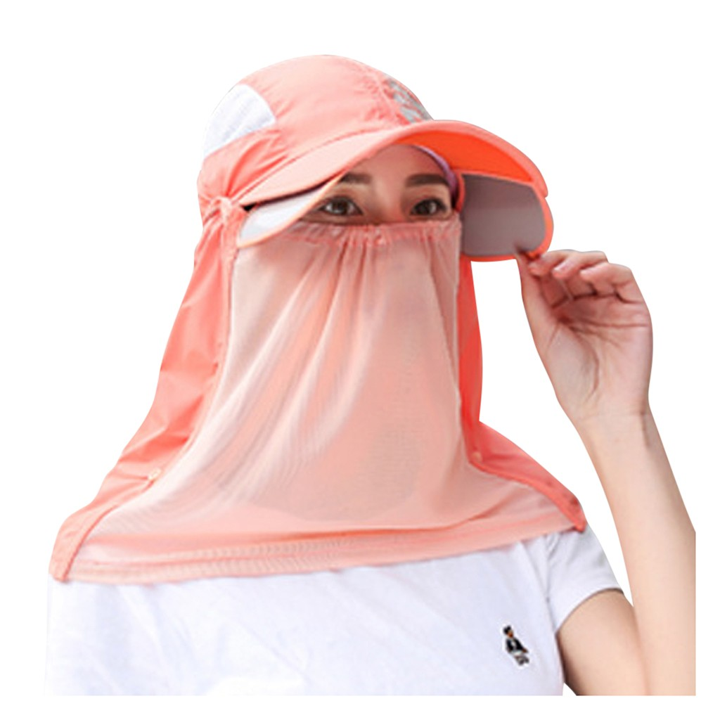 Women Men Neutral  Dustproof Neck Scarf Protective Hat Mask Summer Sun Protection Cap Letter Printing Peaked Cap Mask